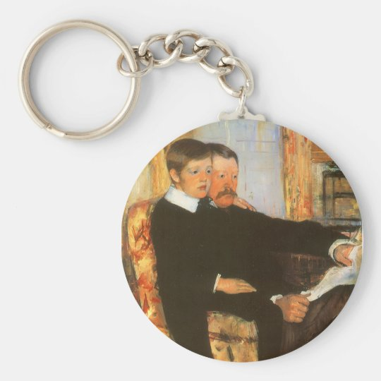 Vintage Father and Son Portrait by Mary Cassatt Basic Round Button Key Ring