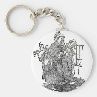 Vintage Father Christmas Illustration Keychain