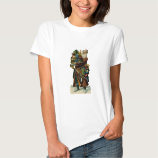 Vintage Father Christmas Ladies Baby Doll Shirt
