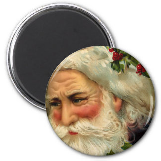 Vintage Father Christmas Round Magnet