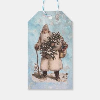 Vintage Father Christmas Santa Silver Snow Falling Gift Tags