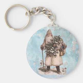 Vintage Father Christmas Santa Silver Snow Falling Key Ring