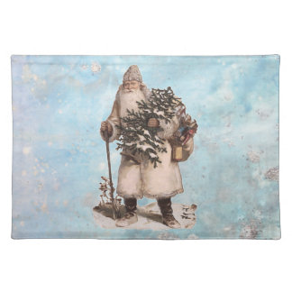 Vintage Father Christmas Santa Silver Snow Falling Placemat
