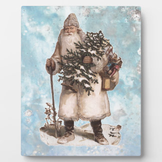 Vintage Father Christmas Santa Silver Snow Falling Plaque