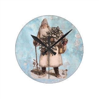 Vintage Father Christmas Santa Silver Snow Falling Round Clock