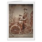 Vintage Fathers and Child On Bicycle Card