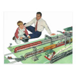 Vintage Father's Day, Dad and Son Play with Trains Postcard