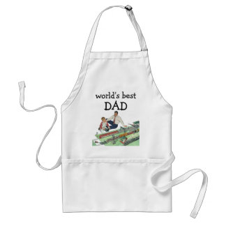 Vintage Father's Day, Dad and Son Play with Trains Standard Apron