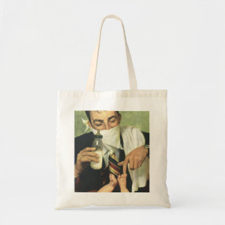 Vintage Father's Day, Dad Giving Baby a Bottle Budget Tote Bag