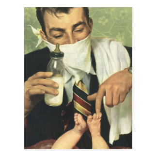 Vintage Father's Day, Dad Giving Baby a Bottle Postcard