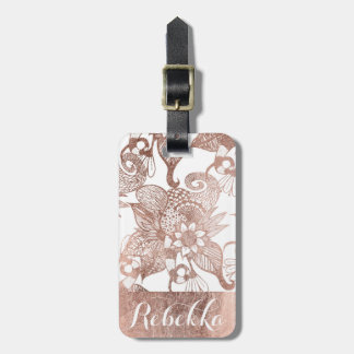 Vintage Faux Rose Gold Rustic Floral Drawings Luggage Tag