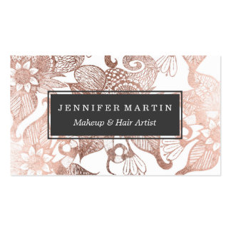 Vintage Faux Rose Gold Rustic Floral Drawings Pack Of Standard Business Cards