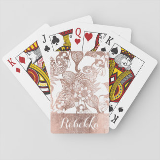 Vintage Faux Rose Gold Rustic Floral Drawings Playing Cards