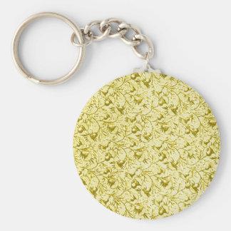 Vintage Feathery Floral Lemon Yellow Key Chains