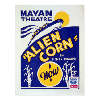 Vintage Federal Theatre Project Alien Corn WPA Postcard