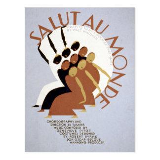 Vintage Federal Theatre Project Salut au Monde WPA Postcard