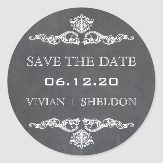 Vintage Feel Ornate Swirls Save the Date Stickers