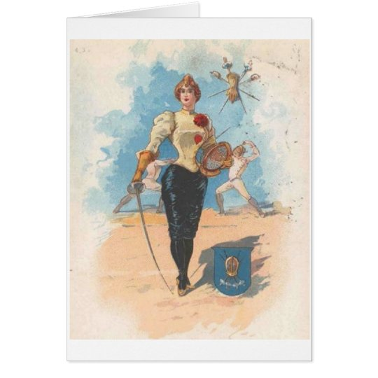 Vintage Female Fencer Note Card