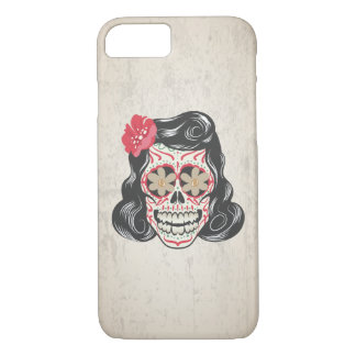 Vintage Female Skull Tattoo with Tattered Backdrop iPhone 7 Case