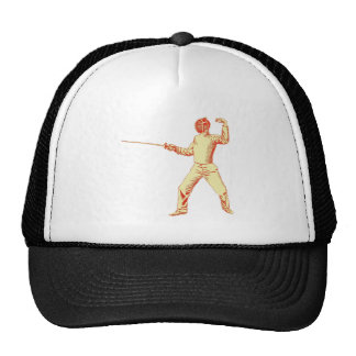 Vintage Fencer Illustration Mesh Hat