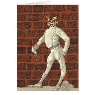 vintage fencing cat card