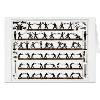 Vintage Fencing Instruction Greeting Card