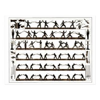 Vintage Fencing Instruction Postcard