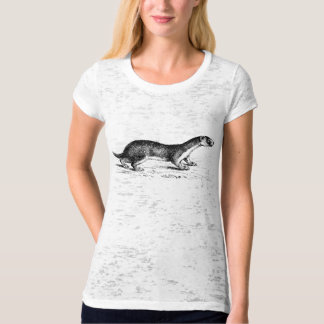 Vintage Ferret Woodblock Artisan Style T-Shirt