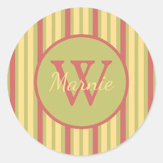 Vintage Ferris Wheel Stripe Monogram Classic Round Sticker