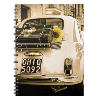 Vintage Fiat 500 Cinquecento in Italy Notepad Notebooks