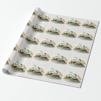 Vintage Field Mouse w Mushrooms Old Retro Mice Wrapping Paper
