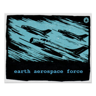Vintage fighter jets - Earth Aerospace Force Poster