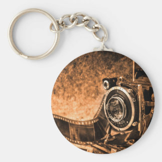 Vintage film camera -photography basic round button key ring
