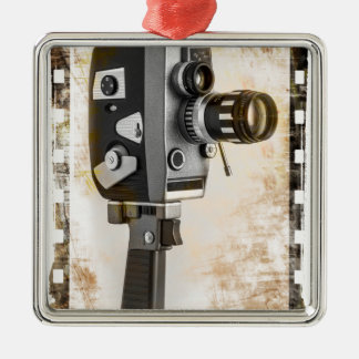 Vintage Film Camera Silver-Colored Square Decoration
