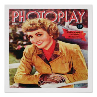 Vintage Film Star Claudette Colbert on Photoplay Poster