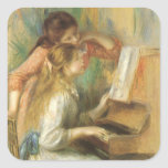 Vintage Fine Art, Young Girls at Piano by Renoir Square Sticker
