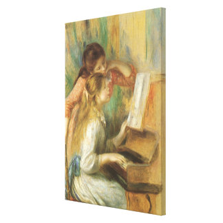 Vintage Fine Art, Young Girls at Piano by Renoir Stretched Canvas Print