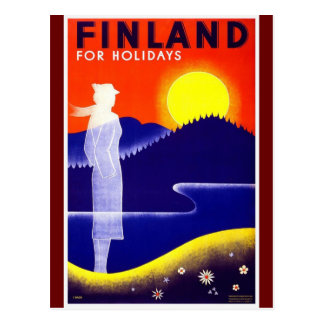 Vintage Finland Travel Poster Design Postcard