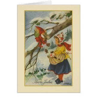Vintage Finnish Iloista Joulua Christmas Card