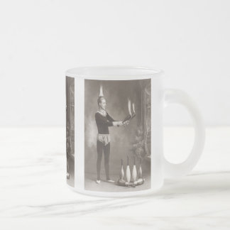 Vintage Fire Juggler Frosted Glass Coffee Mug
