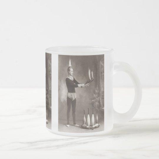 Vintage Fire Juggler Frosted Glass Coffee Mug