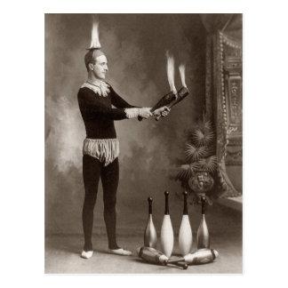 Vintage Fire Juggler Postcard