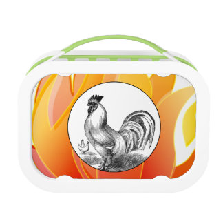 Vintage fire rooster illustration lunch box