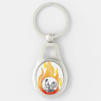 Vintage fire rooster illustration Silver-Colored oval key ring