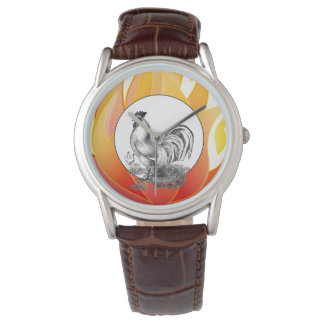 Vintage fire rooster illustration watch