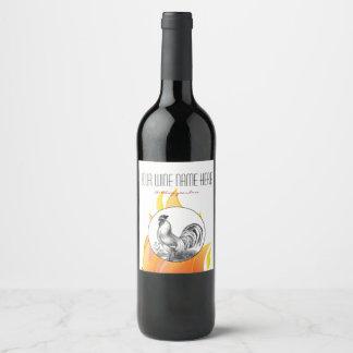 Vintage fire rooster illustration wine label