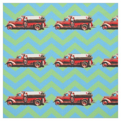 Vintage Fire Truck Fabric