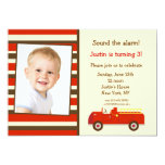 Vintage Fire Truck Photo Birthday Party Invitation