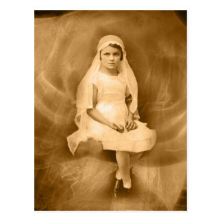 Vintage First Communion Girl, Dress, Veil, Rose Postcard