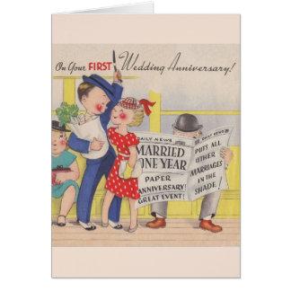 Vintage First Wedding Anniversary Card